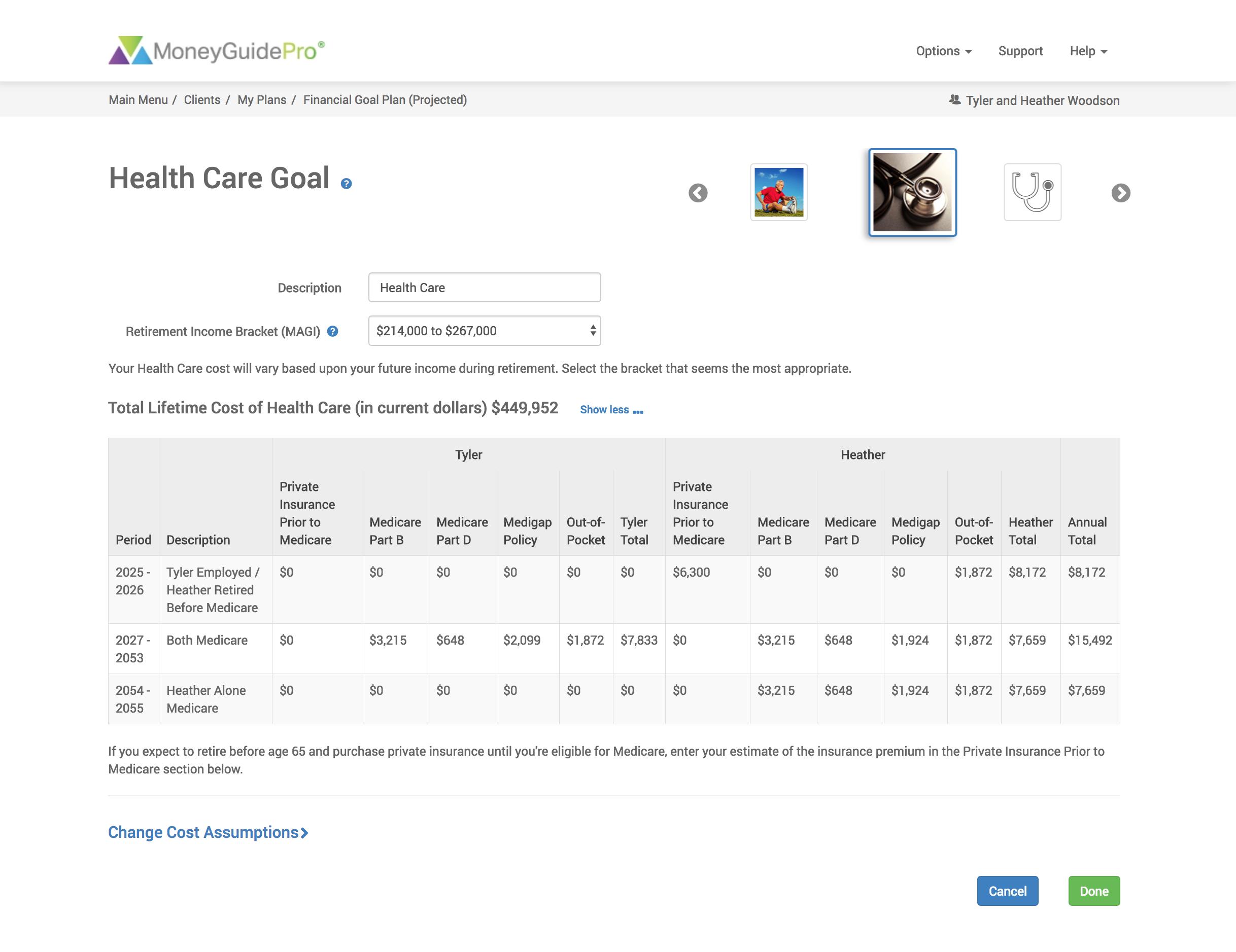 MoneyGuidePro Health Care Goal