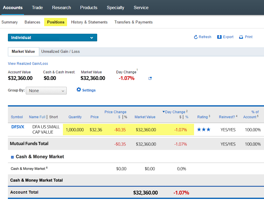 Dividends and the Lag in Fund Values Screen Cap 1