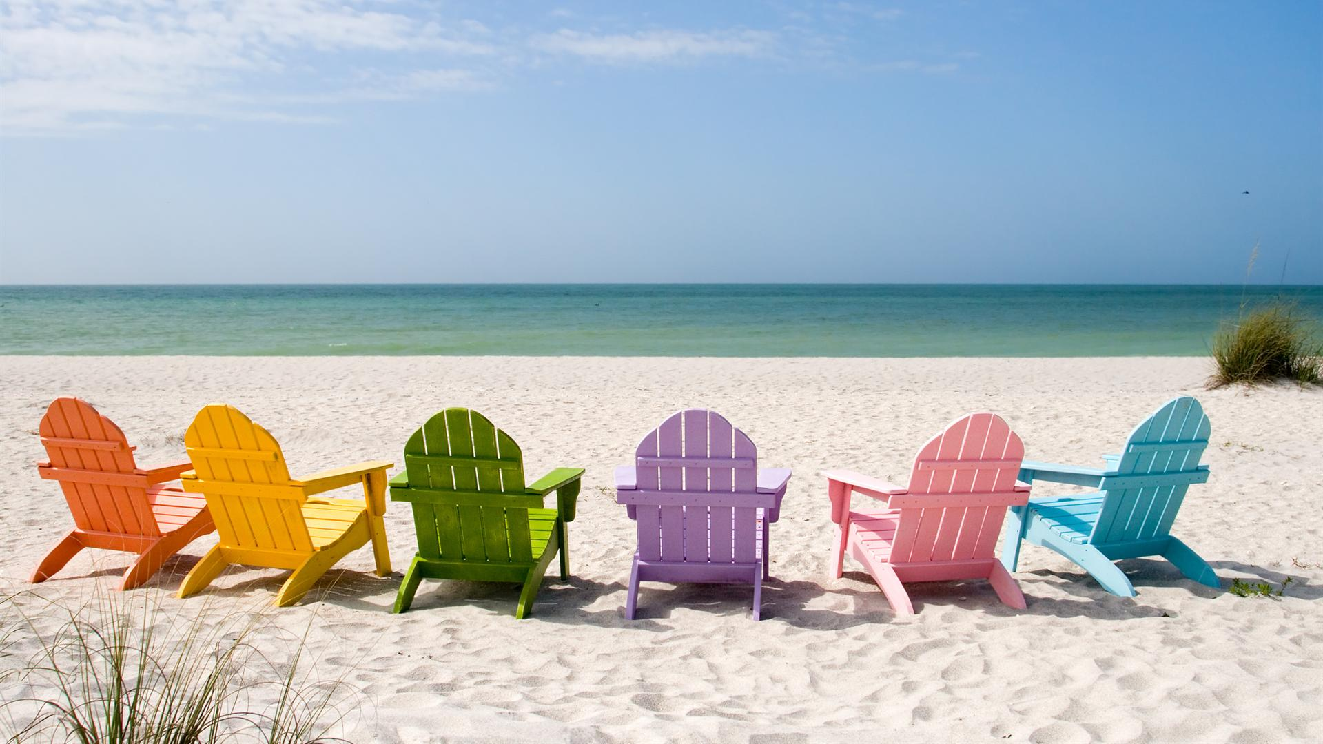 Colored Chairs on Beach